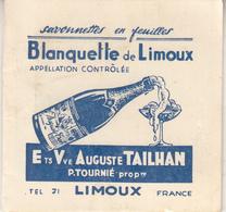 """Calendrier De 1954 """" Blanquette De Limoux """" Ets Vve Auguste TAILHAN - Calendriers"""