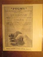 """Lampe MAGNETO INEPUISABLE """"à Poussoir""""  PYGMY    -  Coupure De Presse De 1929 - Projecteurs"""