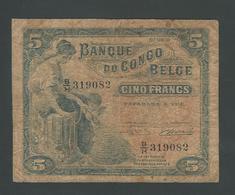 CONGO RARE 5 FRANC 1951  F- - Belgian Congo Bank
