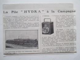 """LEVALLOIS PERRET - Usine à Piles -   Lampe à Pile """"HYDRA""""     -  Coupure De Presse De 1929 - Projectoren"""