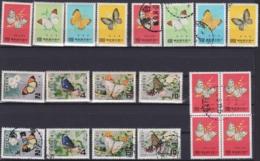 "TAIWAN 1977-78, ""Taiwan Butterflies"", 2 Series, Each Mnh + Cancelled - 1945-... République De Chine"