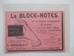 """Appareil Photographique De Précision """"Le Block-Notes"""" Ets GAUMONT  & Cie -  Prix  Expo 1900 -  Coupure De Presse De 1903 - Appareils Photo"""