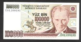Turkey - Türkei - Yüz Bin - 100000 Lirasi - Very Good Condition - Turkije