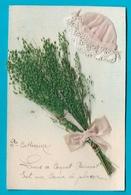 Carte Brodée Bonnet Sainte Catherine Bouquet Herbes Séches - Sainte-Catherine