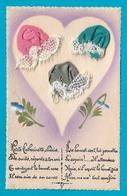 Carte Brodée Bonnet Sainte Catherine -bonnets Dans Coeur Avec Poème - Sainte-Catherine