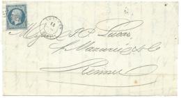 N° 14 BLEU NAPOLEON SUR DEVANT DE LETTRE / LORIENT POUR RENNES / 14 JUIL 1854 - 1849-1876: Période Classique