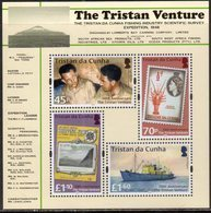 TRISTAN DA CUNHA , 2018, MNH, TRISTAN VENTURE, SHIPS, STAMP ON STAMP, CRAYFISH, CRUSTACEANS,FISHING INDUSTRY, SHEETLET - Barche