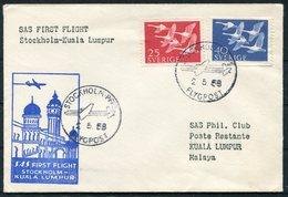 1958 Sweden Malaya SAS First Flight Cover. Stockholm - Kuala Lumpur - Briefe U. Dokumente