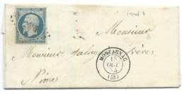 N° 14 BLEU NAPOLEON SUR LETTRE / MONTAGNAC POUR NIMES / 18 OCT 1854 - 1849-1876: Classic Period