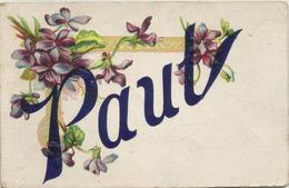 "FIRST NAME GREETING .......... "" PAUL "" .........   ""  VASE OF VIOLETS - 1910 - Nombres"