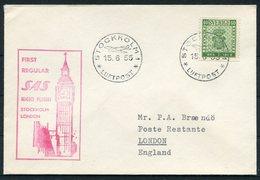 1955 Sweden GB SAS First Flight Cover. Stockholm - London. Big Ben - Briefe U. Dokumente