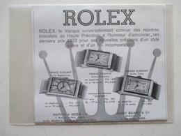 Montres De Luxe   - Coupure De Presse De 1933 - Montres Haut De Gamme
