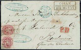 Prusse - N° 17 X 2 Sur FRAGMENT De Lettre De Coeln P.D. >> Bordeaux - Cad Bleu Prusse Erquelines, Cachet Coeln 19/11/66. - Prussia