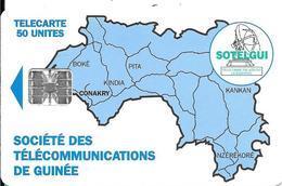 CARTE-PUCE-GUINEE-50U-SC7-CARTE De GUINEE-BLEUE-V°Mode D Emploi Texte Noir N°Tge C4C147902-UTILISE-TBE-RARE - Guinea