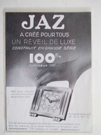 Reveil JAZ   - Coupure De Presse De 1933 - Alarm Clocks