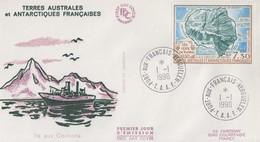 Enveloppe  FDC  1er  Jour   T.A.A.F    Carte  De  L' ILE  AUX  COCHONS   1990 - FDC