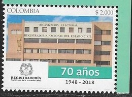 COLOMBIA, 2018. MNH, BUILDINGS, REGISTRY ,1v - Stamps