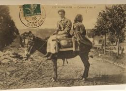 Carte-postale-ancienne- LES NORMANDS – Laitières Et ânes  1908 - Sotteville Les Rouen