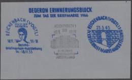 Erinnerungsblock Auf Dederongewebe Zum Tag Der Briefmarke, DDR Reichenbach 3.11.1966 - Vignetten (Erinnophilie)