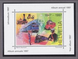 SCHWEIZ  Vignette 1997: Die Schweiz Und Ihre Bahnen, Aus: Jahrbuch 1997 Der Schweizer Post, Eisenbahn - Vignetten (Erinnophilie)
