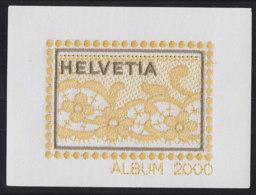 SCHWEIZ  Vignette 2000: St. Galler Stickerei, Aus: Jahrbuch 2000 Der Schweizer Post - Erinnophilie