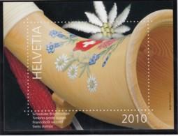 SCHWEIZ  Vignette 2010: Brauchtum In Der Schweiz, Aus: Jahrbuch 2010 Der Schweizer Post, Alphorn - Erinnophilie