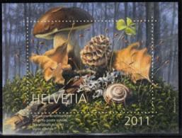 SCHWEIZ  Vignette 2011: Lebensraum Wald, Aus: Jahrbuch 2011 Der Schweizer Post, Pilz - Vignetten (Erinnophilie)