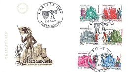 LUXEMBOURG  -  FDC     8.12.1969  -  Caritas - Les Châteaux-Forts Du Grand-Duché,Luxbg - FDC