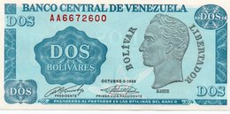 VENEZUELA=1989    2  BOLIVARES      P-69      UNC - Venezuela