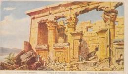 POSTAL ANTIGUA DE EGIPTO. TEMPLE OF KALABSCHEH (NUBIA). (1025). LIGERAS DOBLECES. - Historia