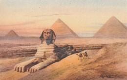 POSTAL ANTIGUA DE EGIPTO. THE SPHINX & THE THREE PYRAMIDS OF GIZA. Nº 112. (1027). - Historia