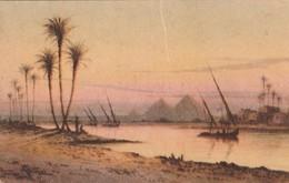 POSTAL ANTIGUA DE EGIPTO. GLORIOUS SUNSET ON THE NILE NEAR THE PYRAMIDS OF GIZA. Nº 123. (1030). - Historia