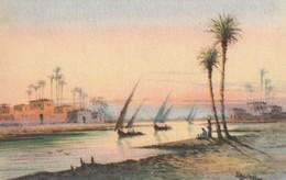POSTAL ANTIGUA DE EGIPTO. SAILING BOATS ON THE NILE AT SUNSET. Nº 105. (1029). - Historia