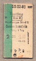 BRD Pappfahrkarte (RB) : Nordhausen Nord- Benneckenstein 10.2.88 - Railway