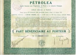 Ancien Titre - Pétrolea - Société Anonyme Pour L'exploitation Du Pétrole Et Des Industries Chimiques - Titre De 1922 - Pétrole