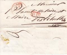 FRANCE LETTRE DE 1847 ISÈRE LES ÉCHELLES TAMPON A DATE ROUGE LYON + TAMPON ROUGE P.P POUR Mr PLANET MAIRE - Marcophilie (Lettres)