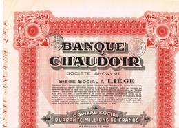 Titre Ancien - Banque Chaudoir - Société Anonyme -Titre De 1929 - Banca & Assicurazione