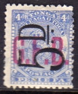 TONGA TOGA 1893 OFFICIAL STAMPS G.F.B. GFB COAT OF ARMS STEMMA ARMOIRIES SURCHARGED FIVE PENCE 5d On 4p MH - Tonga (...-1970)