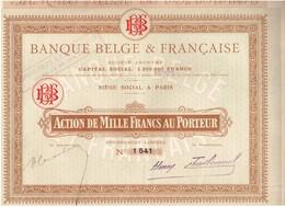 Titre Ancien - Banque Belge & Française - Société Anonyme -Titre De 1919 - Banque & Assurance