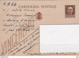 1944 Intero Postale C. 30 Imperiale - Soprastampa Rossa R.S.I. - Marcofilía