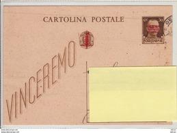 1944 Intero Postale C. 30 Imperiale - Soprastampa Rossa R.S.I. - Marcofilie