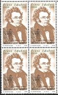J) 1978 MEXICO, BLOCK OF 4, SCHUBERT (1797-1828), AUSTRIAN COMPOSER, FRANZ SCHUBERT, DEATH AND THE MAIDEN, SCOTT C587, M - Mexico