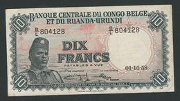 CONGO BELGIUM   RUANDA-URUNDI RARE 10 FRANC 1958  VF++ - Belgian Congo Bank