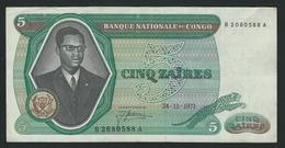 ZAIRE  RARE 5 ZAIRES 1971 BANQUE NATIONAL DU CONGO  VF - Zaïre