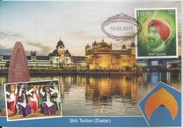 Culture,Costumes, Head Gear,Sikh Turban,(Dastar), Golden Temple, Khalsa,Maxim Card,By India Post,Traditional Dress - Disfraces