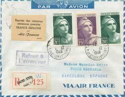 """MARCOPHILIE POSTE AERIENNE MONDE """"BARCELONE / ESPAGNE"""" Sur Enveloppe - Avions"""