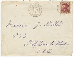 1F MISTRAL CHARENTE INFERIEURE ENV 26/02/41 AULNAY DE SAINTONGE (TIMBRE EMIS LE 20/02/41) - Marcophilie (Lettres)