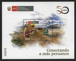 PERU 2019 ,  BUS & ROAD , TRANSPORT & COMUNICATION , SOUVENIR SHEET , MNH - Peru