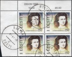 ESTONIA - LYDIA KOIDULA - Corner MARGIN Block Of 4 VF Used Stamps Issued In 1993 - Estonie