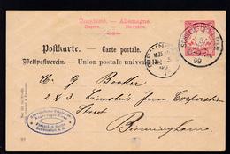 Wappen 10 Pfg. Als Firmenpostkarte (Fichtel & Sachs, Schweinfurt) Mit K1  - Bayern